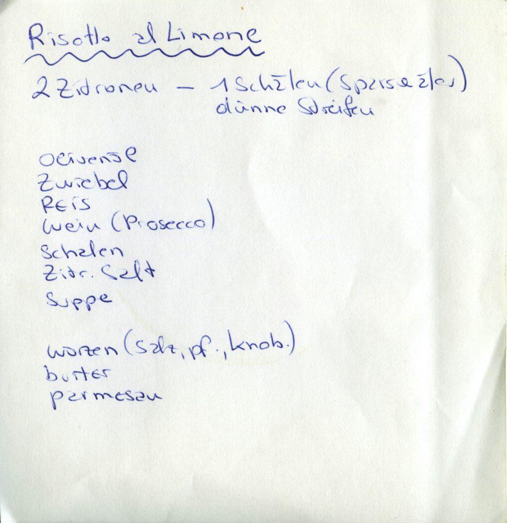 Handgeschriebenes Rezept für Risotto al limone